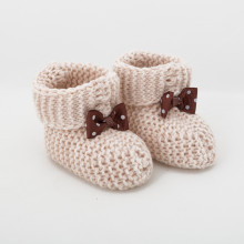 Milk Chocolate Knitted Baby Boots