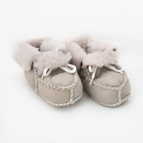 Snow Grey Baby Boots With Fur Inside